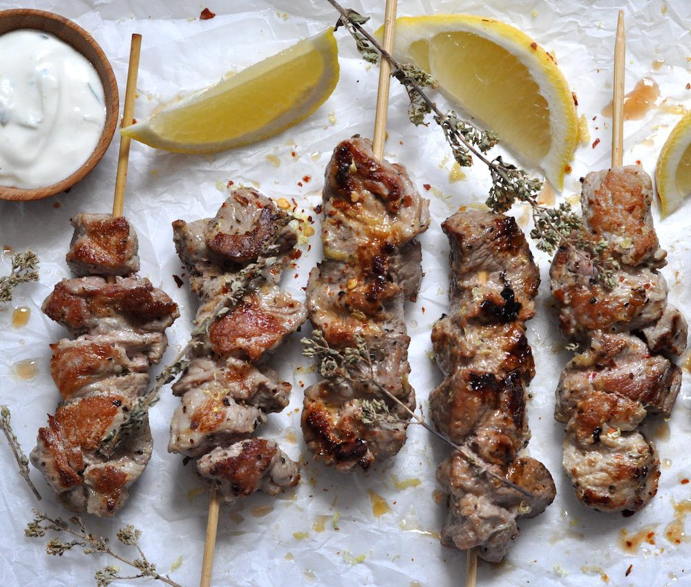 Greek pork skewers