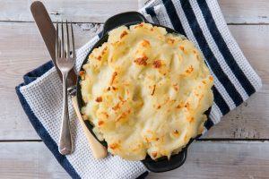 Chicken pie with potato topping