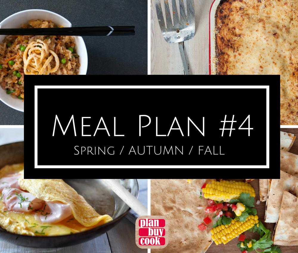 Meal plan #4 –spring/autumn/fall
