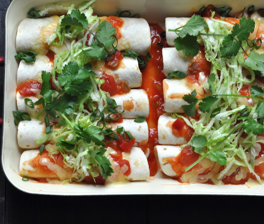 Chicken enchiladas with red rice