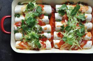 Chicken enchiladas with red rice