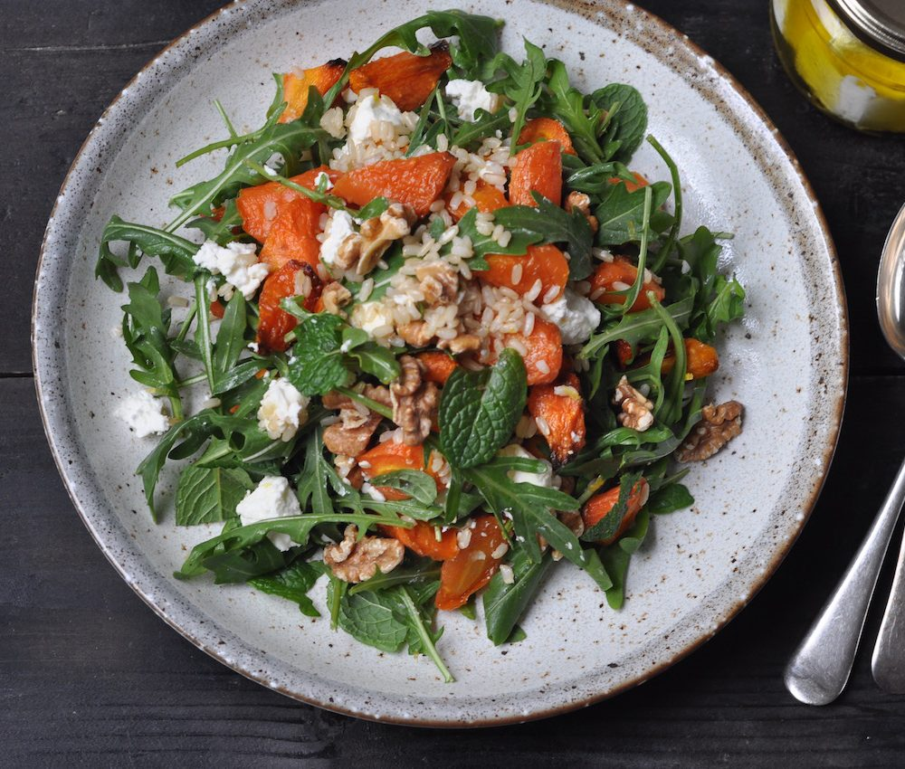 Roast carrot, feta and walnut salad