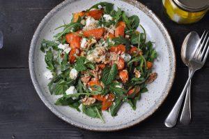 Roast carrot, feta and walnut salad